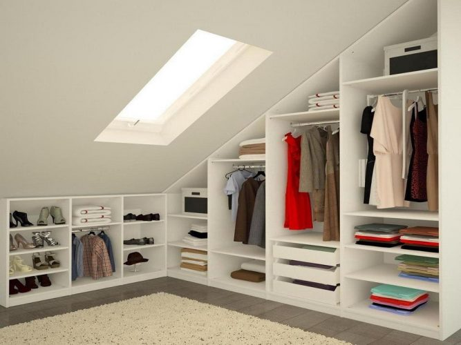 Мансардные гардеробные комнаты